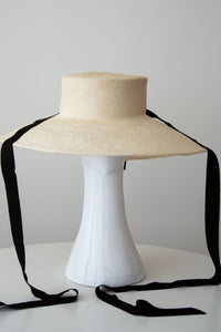 Wide Brim Dior Style Sun Hat with Ribbon Ties by Felicity Northeast Millinery