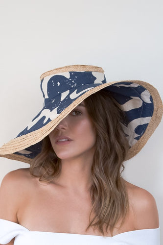 Wide brimmed raffia edged and blue canvas sunhat