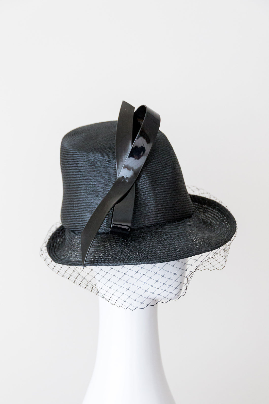 ZARA-Black asymmetrical tall hat with veiling and patent bow