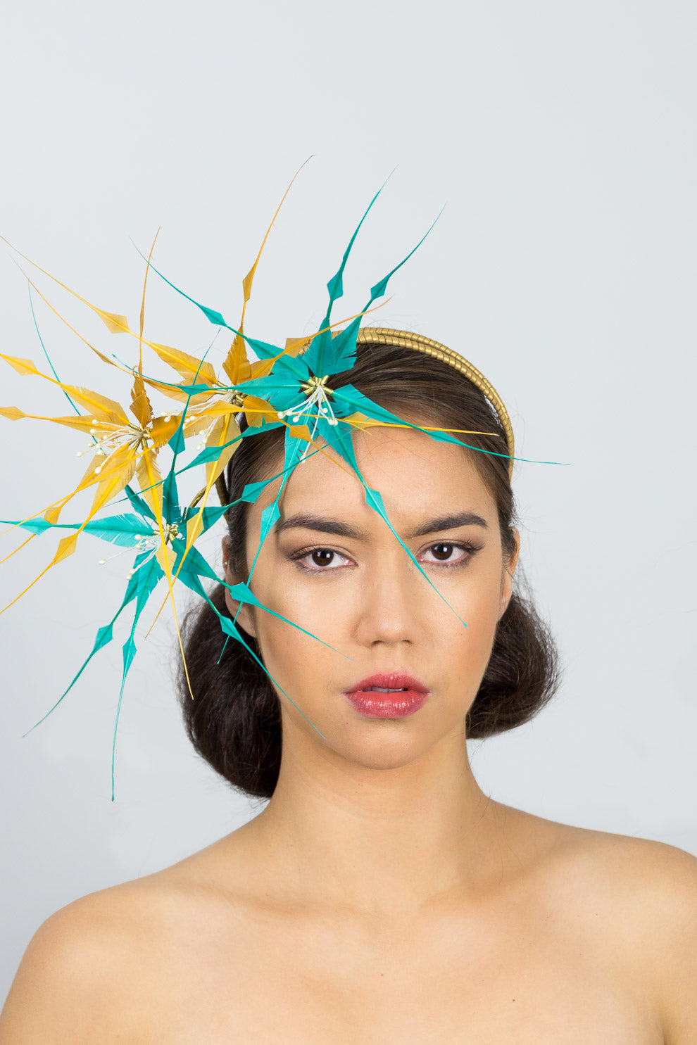 ZOE-Blue and mustard feather flower headpiece on headband