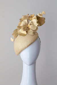 Gold Tear Drop Beret with Leather Flowers by Felicity Northeast Millinery