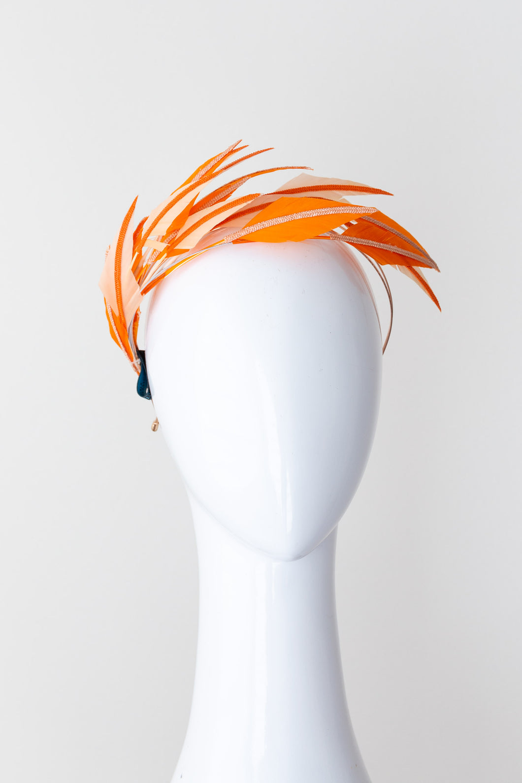 Two toned feather flowing headband, orange