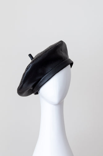 CURRAWONG BERET  black leather couture beret