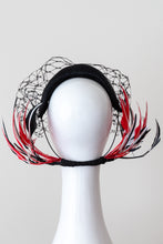 Load image into Gallery viewer, Wide Black Headband with Sweeping Back Feathers by Felicity Northeast Millinery