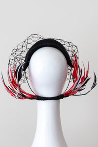 Wide Black Headband with Sweeping Back Feathers by Felicity Northeast Millinery