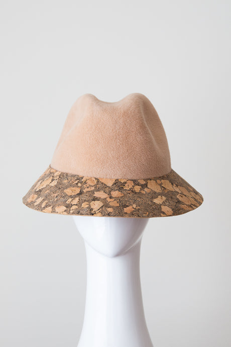 LAGOS FEDORA-Felt and cork bucket hat in beige and natural