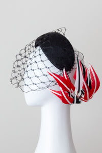 Wide Black Headband with Sweeping Back Feathers - Black, red and white  veiled headband, with back feather details by Felicity Northeast Millinery