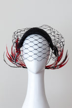 Load image into Gallery viewer, Wide Black Headband with Sweeping Back Feathers -Black, red and white veiled headband with back feather details by Felicity Northeast Millinery