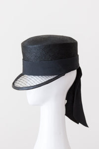 IRIS CAP- Modern designer black cap with bow