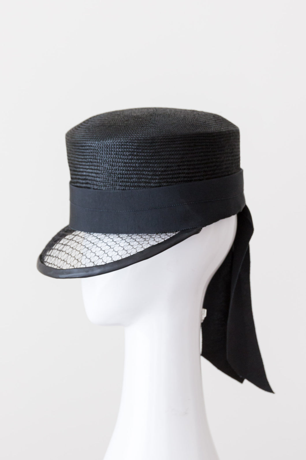 Black Cap with Veiled Visor by Felicity Northeast Millinery