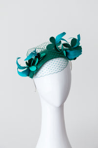 JULIA HEADPIECE- Green leather floral headpiece with soft veiling