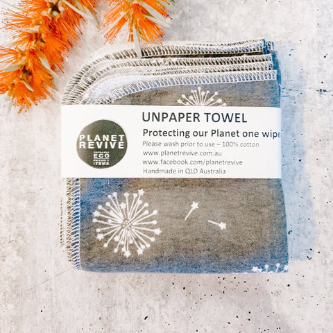 UNPAPER TOWELS | GREY DANDELION | 8 PACK