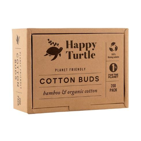 HAPPY TURTLE ORGANIC COTTON & BAMBOO BUDS- FLIP LID 200 PACK