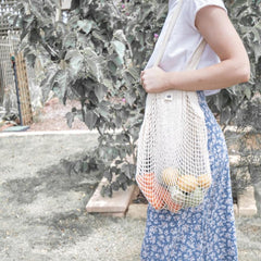 COTTON NET TOTE SHOPPING BAG | LONG HANDLE
