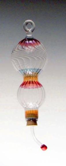 Blown Glass Hummingbird Feeder - Wind Chime Fun