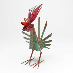 Copper Rooster Garden Sculpture