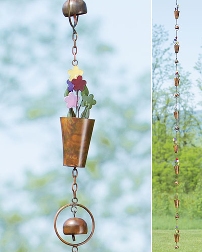 Flamed Multicolored Flowerpot Rain Chain - Wind Chime Fun
