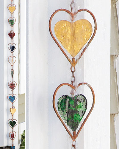Heart Multicolor Rain Chain - Wind Chime Fun