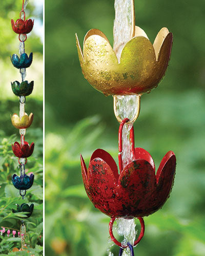 Multicolored Lily Cup Rain Chain - Wind Chime Fun