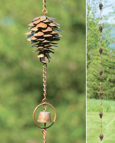 Flamed Pine Cone  and Bell Rain Chime - Wind Chime Fun