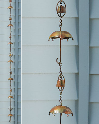 Flamed Umbrella Rain Chain - Wind Chime Fun