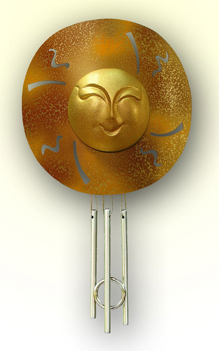 Golden Happy Sun Window Indoor Solar Wind Chime - Wind Chime Fun