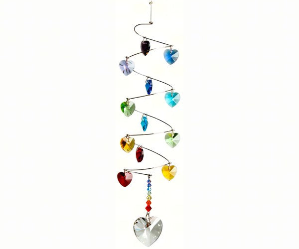 Crystal Spiral Rainbow Hearts - Wind Chime Fun