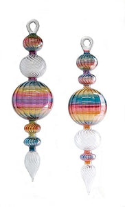 Large Classic  Glass Christmas Tree Ornament with Rainbow Stripes