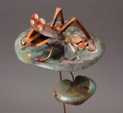 Copper Frog on Lily Pad Garden Stake - Wind Chime Fun