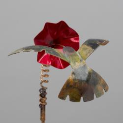 Copper Hummingbird Garden Stake - Wind Chime Fun