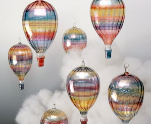 Handcrafted Glass Hot Air Balloon Suncatcher - Wind Chime Fun