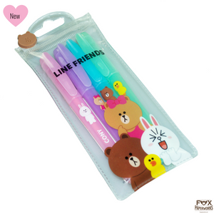LINE FRIENDS GEL PENS FOX PAPERWORKS UK STOCK
