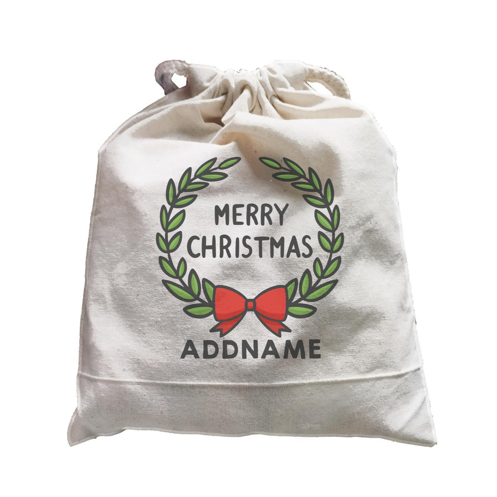 Merry Christmas Wreath Customizable Drawstring Satchel