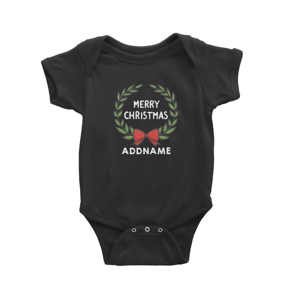 Merry Christmas Wreath Customizable Romper