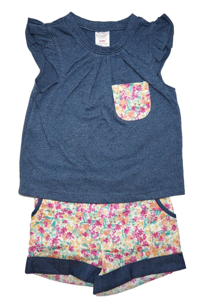 Cotton Tee and Shorts Set - Denim Floral