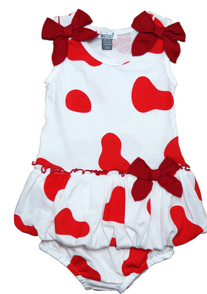 Red and White Bubble 2-Piece Romper