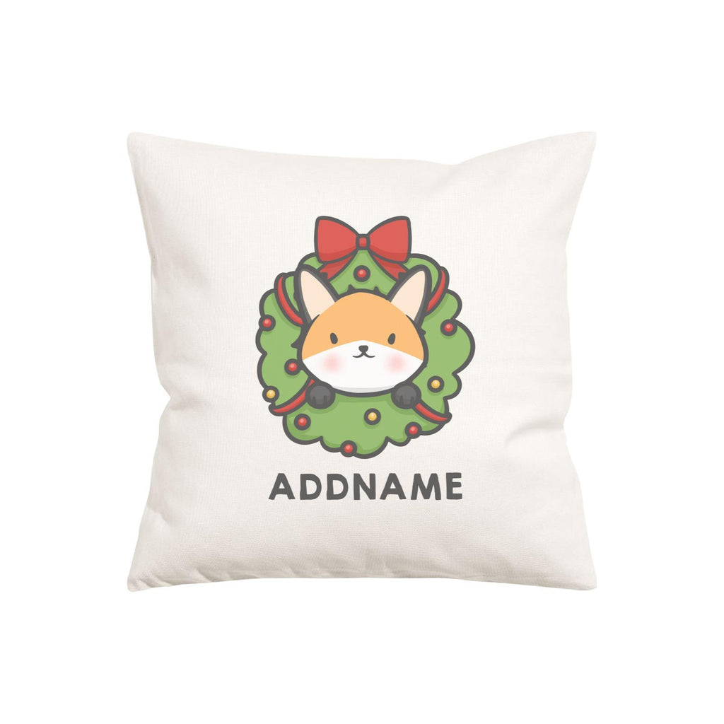 Cute Fox Flower Wreath Customizable Cushion Cover