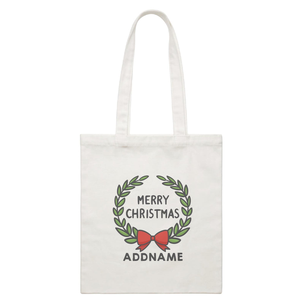 Merry Christmas Wreath Customizable Canvas Bag