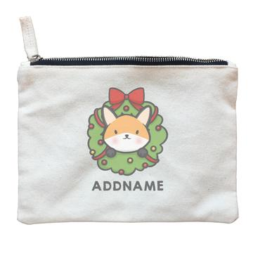 Cute Fox Flower Wreath Customizable Zipper Pouch