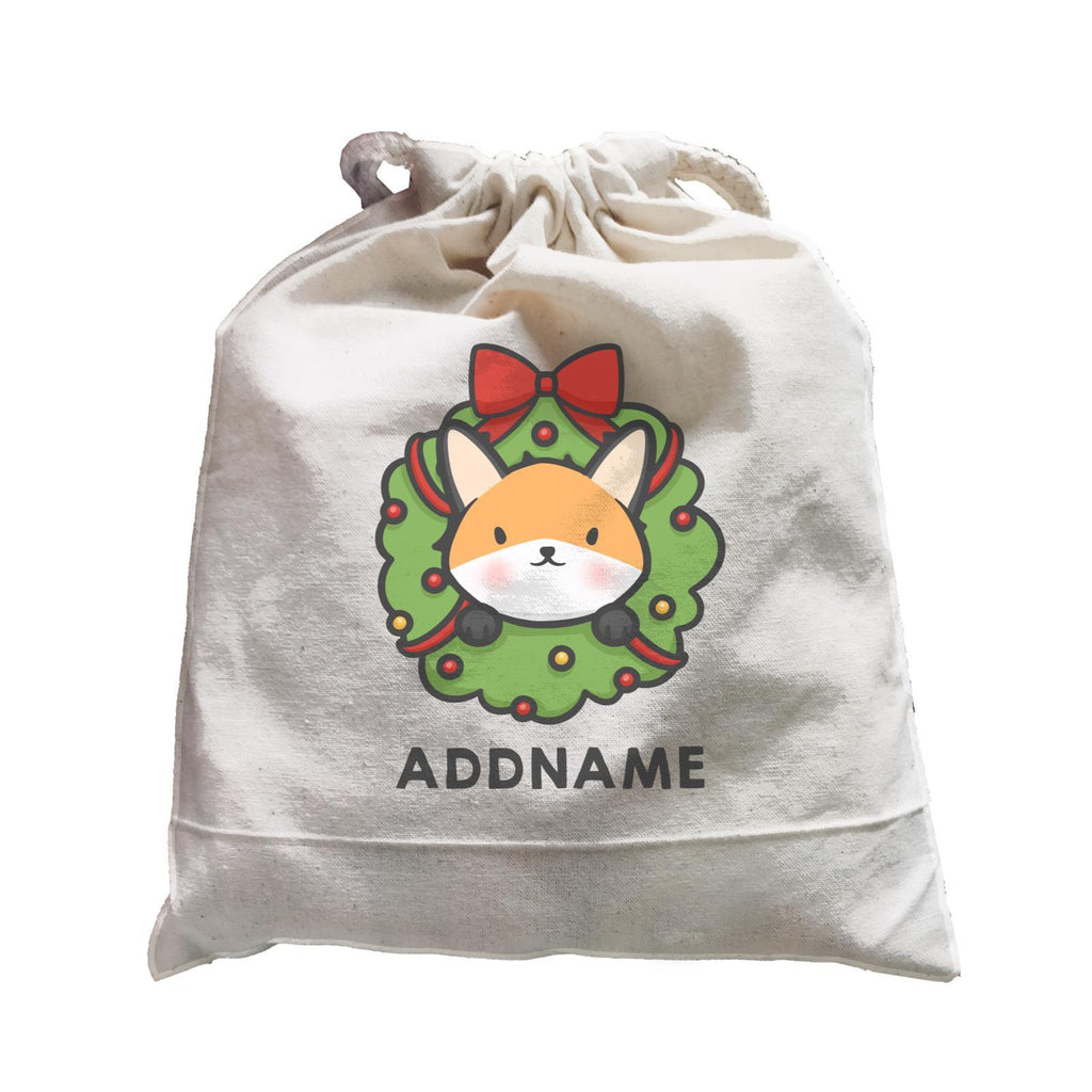 Cute Fox Flower Wreath Customizable Drawstring Satchel