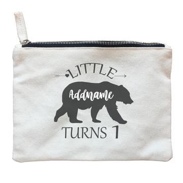 Little Bear Silhouette Birthday Theme Zipper Pouch