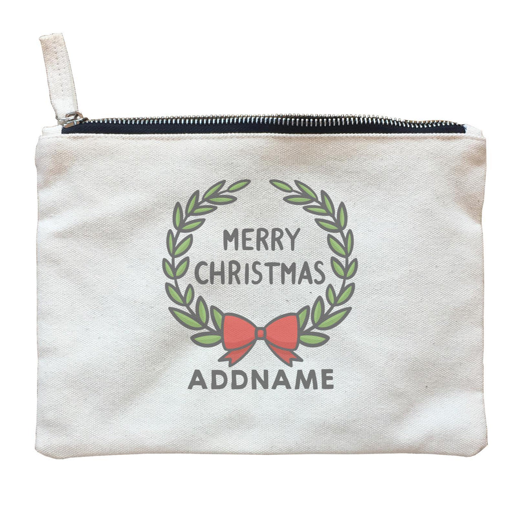Merry Christmas Wreath Customizable Zipper Pouch