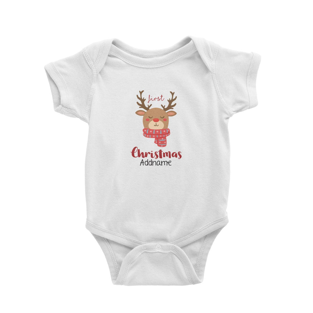 My First Christmas Reindeer Customizable Romper
