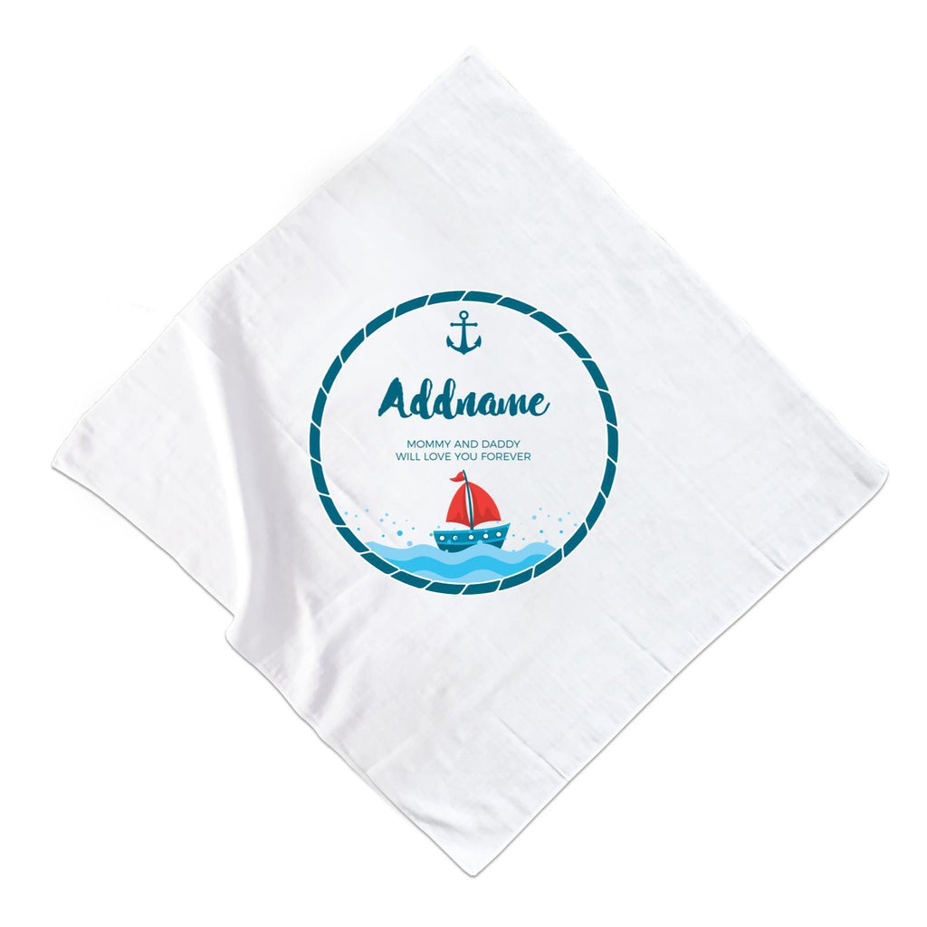 Sailor Emblem with Boat  Muslin Square