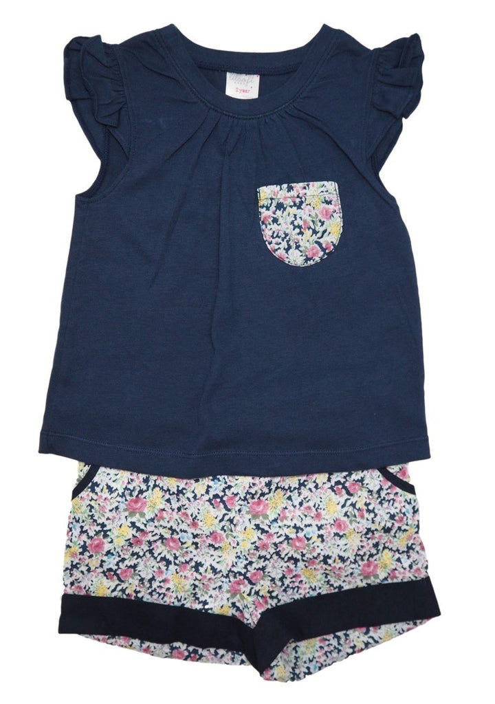 Cotton Tee and Shorts Set - Dark Navy Floral