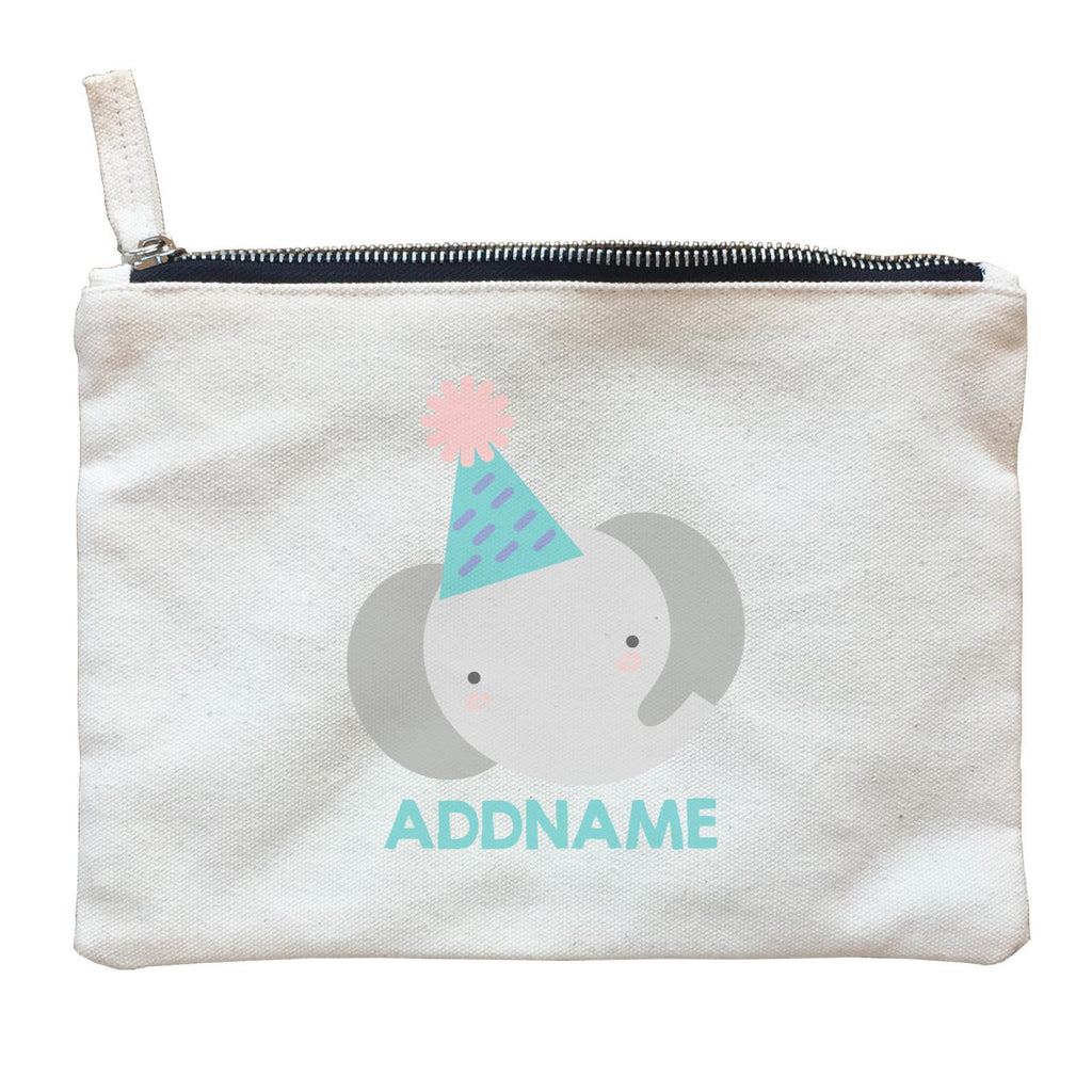 Cute Elephant with Party Hat  Zipper Pouch