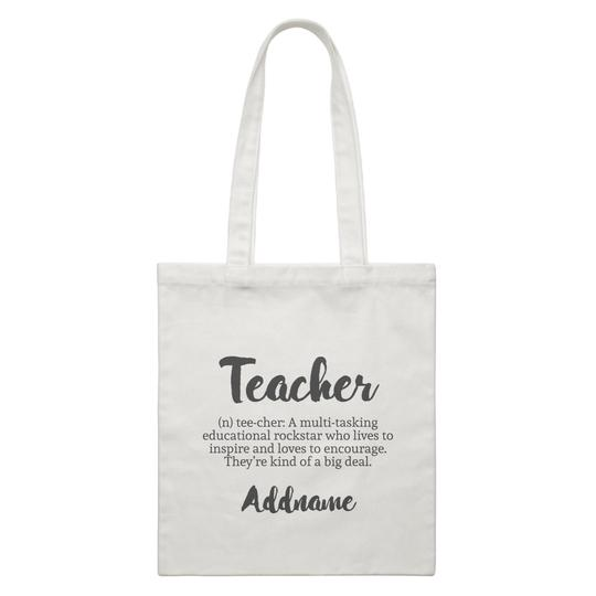 Definition of a Teacher Customizable Canvas Bag