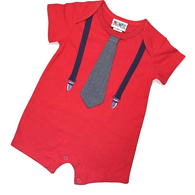 Red Baby Boy Tie Romper