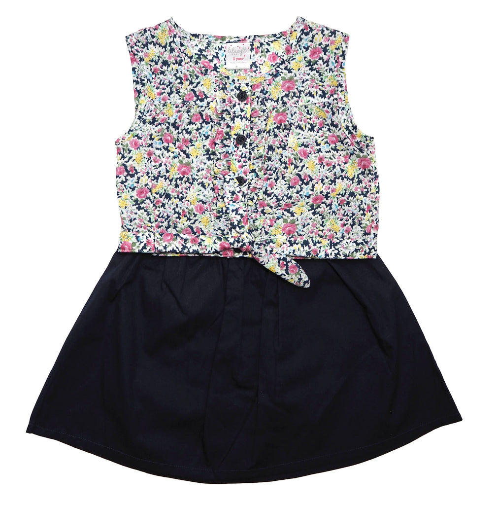 2 Piece Crop Top Set - Navy Blue Foral