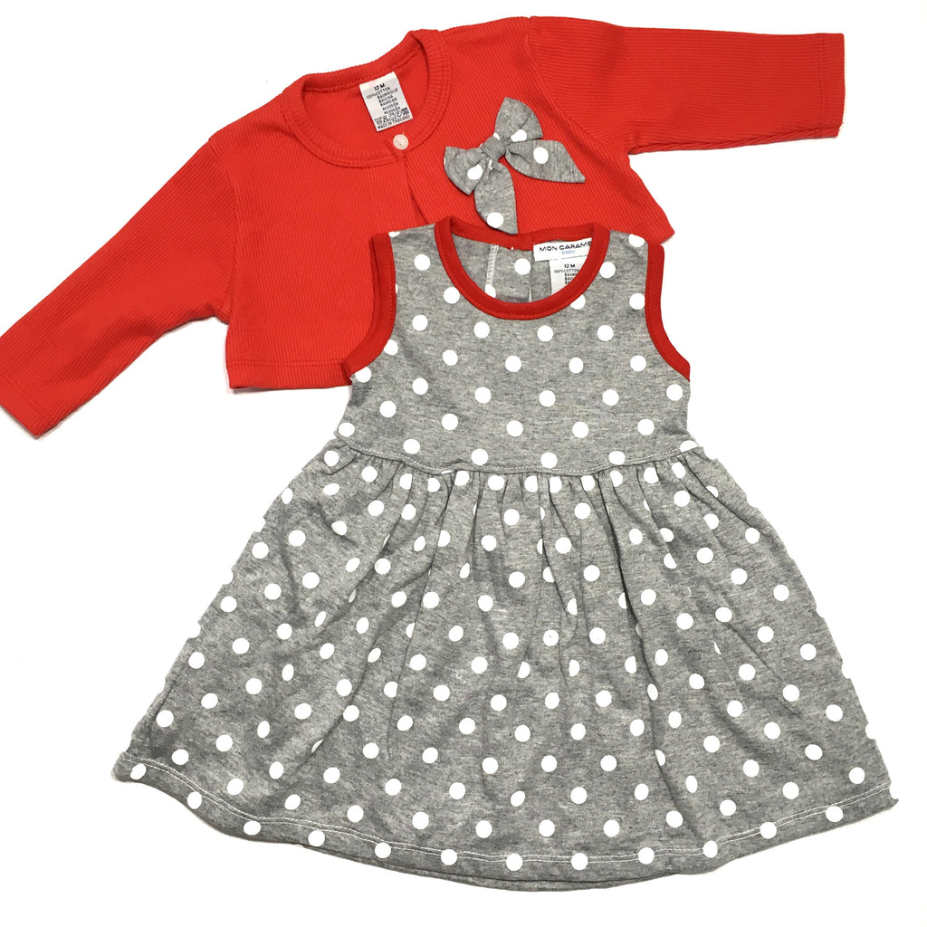Red and Grey Polka Two Piece Set